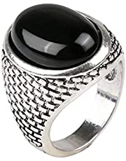 Punk Oval Silver-Plated Black Rhinestone Ring for Men Size 18