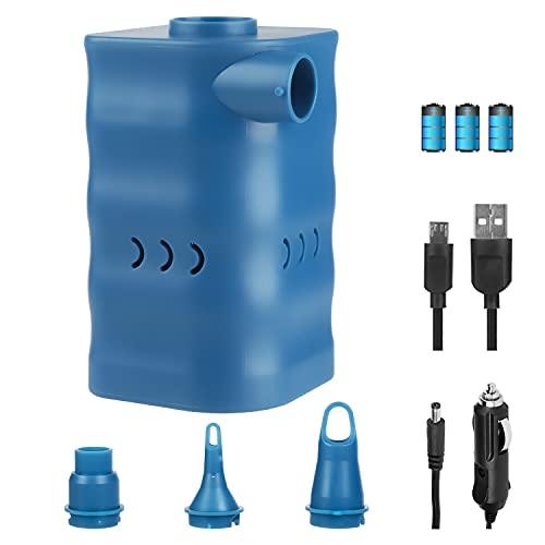 YISSVIC Bomba de aire eléctrica 2 en 1, desinflador USB/CC, 12 V, recargable, con 3 boquillas de aire para colchón de aire, barcos hinchables