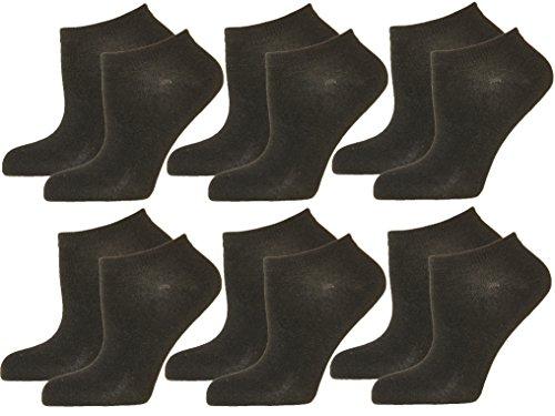 Unbekannt 12 Paar DAMEN HERREN Sneaker Socken. Füßlinge mit hohem Baumwolle Anteil Top Qualität, Farbe:Schwarz;Größe:43-46