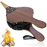 Wood Fireplace Bellows with Hanging Leather Strap, Brown Air Bellower for Outdoor BBQ