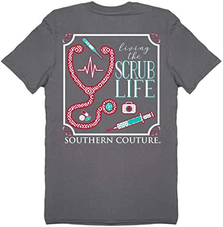 Southern Couture Classic Scrub Life Womens Inspirational T Shirt Charcoal X Large product image