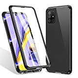 ZHIKE Samsung Galaxy A71 Case 4G,Magnetic Metal Frame Front and Back Tempered Glass Full Screen Coverage One-Piece Flip Gradient Color Cover Anti-Slip Design [Support Wireless Charging](Clear Black)