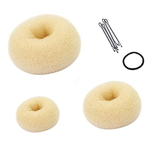 Frcolor Hot Hair Donut Bun Ring Styler Maker avec Haripin Clip et Headband (Beige)