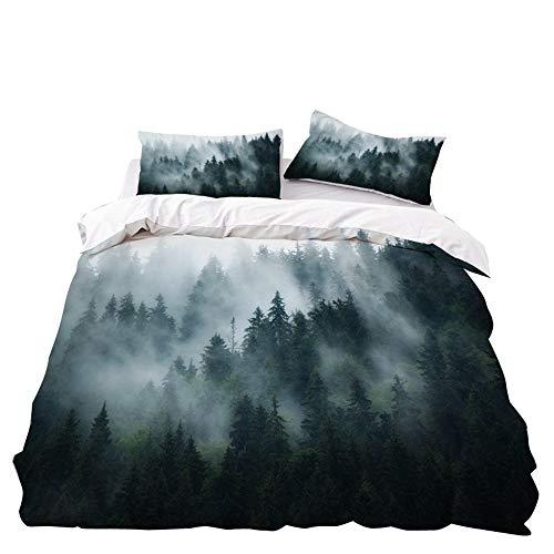 Treer Bettwäsche-Set 3 teilig, Microfaser Drucken Reißverschluss Bettbezug +2 x Kissenbezug 50x75cm 3D Design Warme Bettwäsche (Nebeliger Wald,3pcs-220x240+50x75cm)