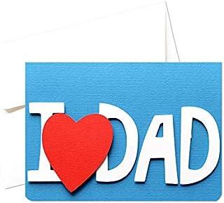 I love Dad - festa del papà - biglietto d'auguri (formato 10,5 x 15 cm) - vuoto all'interno, ideale per il tuo messaggio p...