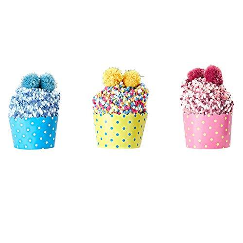GHTGHTS 3 Paar Winter Warm DIY Cupcake Hausschuhe Socken Fuzzy Coral Samt Pompom Strümpfe
