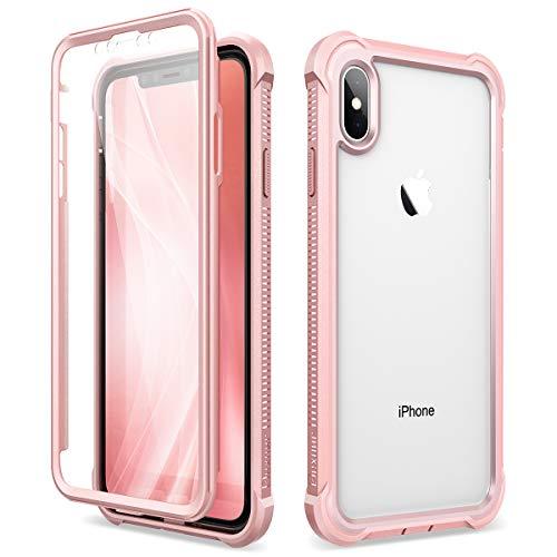 Dexnor Cover per iPhone X iPhone XS (5.8''), Custodia di Protezione a 360 Gradi, [Antiurto] [Leggero] Pannello Posteriore TPU Trasparente, con Protezione per Lo Schermo - Rosa