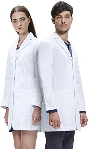 Dr. James Bata de Laboratorio Unisex, Corte Semientallado, Varios Bolsillos (Hombres S/Mujer M)