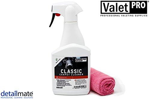 detailmate ValetPro Teppich- und Polsterreiniger Classic Carpet Cleaner 0,5L Sprayflasche + Gratis Mikrofasertuch 40x40cm