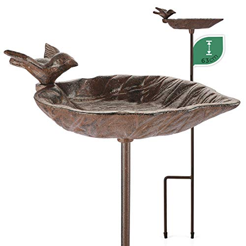 WILDLIFE FRIEND I Vogeltränke stehend, Vogeltränke Garten auf Stab - Höhe 63cm I Vogelbad frostsicher aus Gusseisen, Garten Balkon - Wasserschale Blattform