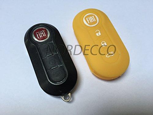 Étui de protection à rabat et à 3 Boutons pour clés 100% silicone pour Fiat 500/500L Lounge Abarth Grande Punto Panda Brava STILO Linea Jaune
