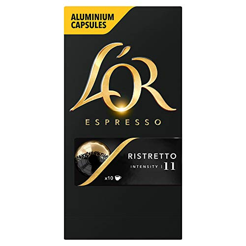 L'OR Espresso Ristretto Intensity 11 - Nespresso* Compatible Coffee Capsules (Pack of 10, 100 Capsules in Total)