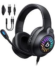 AUKEY RGB Gaming Headset mit Stereosound & 50-mm-Treiber, Gaming-Kopfhörer mit Rauschunterdrückung-Mikrofon & Geräuschisolierung Ohrpolster für PC, PS4, PS5, Xbox One, Switch - Schwarz