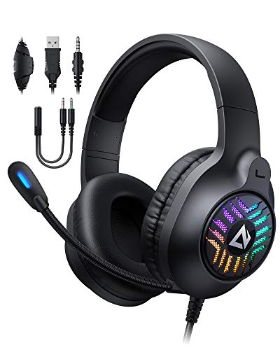AUKEY Cuffie Gaming RGB con Audio Stereo & Driver da 50mm, Cuffie da Gaming con Microfono a Cancellazione del Rumore e Earpads con Isolamento del Rumore per PC, PS4, PS5, Xbox One, Switch - Nero