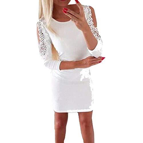 SamMoSon Soldes,Robe Femme Chic Soiree Chemisiers et Blouses Femme Ville Femmes Dentelle Perle sans Bretelles Trois Trimestre Solide Bodycon Fête Robe Blanc XL
