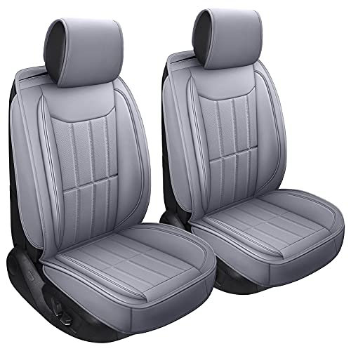 SPEED TREND Leather Car Seat Covers, Premium PU Leather & Universal Fit for Auto Interior Accessories, Automotive Vehicle Cushion Cover for Most Cars SUVs Trucks (ST-003 Front Pair, Gray)