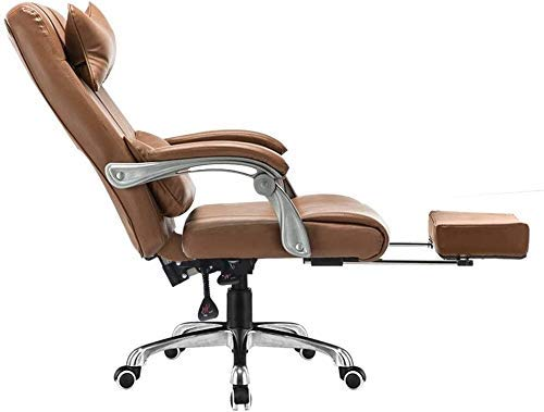 WSDSX Office Chairs Computer Chair Height Adjustable Computer Desk Chair with Footrest High Back PU Leather Gaming Desk Chair Ergonomic Office Chair with Headrest and Lumbar Support (Color : K