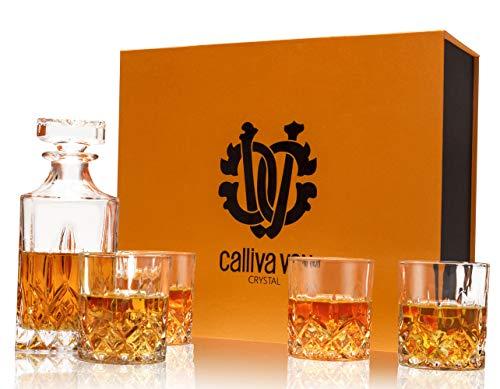 calliva von Whiskey Gläser und Karaffe Set, 750 ml Whisky Dekanter mit 4 Bleifrei Kristall Gläser 300 ml, Prächtige Geschenkbox, 5-teiliges