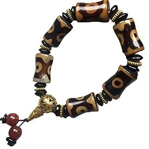ZHIBO Armband mit Achat-Dzi-Perlen, tibetisches Silber, für Damen und Herren