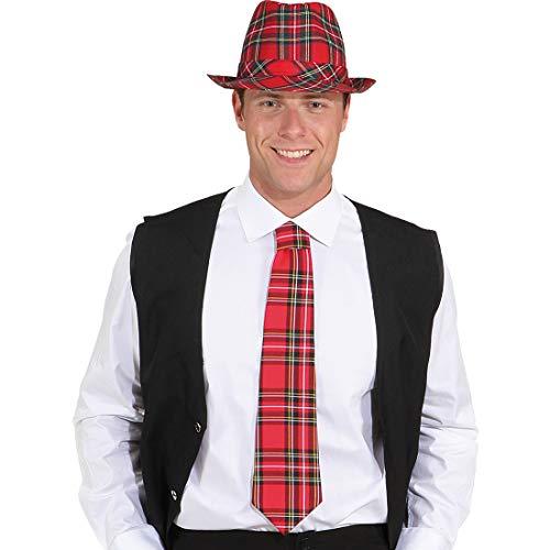 Amakando Elegante Corbata con Estampado escocés para Dama y Caballero/Rojo/Accesorio Disfraz corbatin con decoración Escocesa/Inmejorable para Fiestas temáticas y Noches temáticas