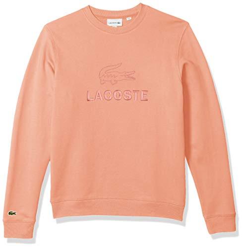 Lacoste Men's Long Sleeve Graphic Fleece Sweatshirt, ELF Pink, XL