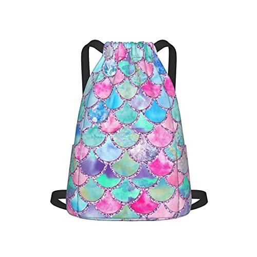 Mochila con cordón para deporte, gimnasio, multicolor, acuarela, color rosa y azul, básculas de sirena con purpurina, unisex, con bolsillo lateral para gimnasio, compras, deporte, yoga
