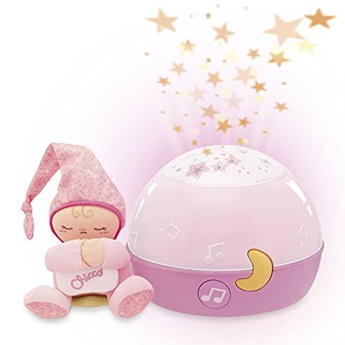 Chicco Buenas Noches Estrellitas Rosa, Lámpara Bebé Multicolor con Luz Quitamiedos y Proyector de Estrellas, Proyector Infantil con Música Relajante y Peluche Extraíble – Juguetes Bebé 0+ Meses