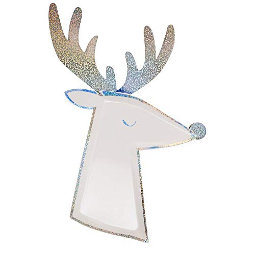 Meri Meri, Silver Sparkle Reindeer Paper Plates, DIY Party Supplies Decorations