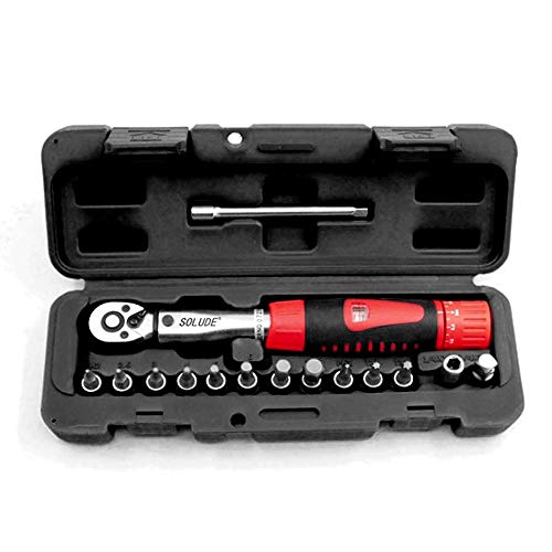 "SOLUDE 15 Piece 1/4"" Bicycle Torque Wrench Set,2-24N.m Cycling Bike Maintenance Socket Tools Kits with 1/4"" to 3/8"" Adapter, Extension Bar and Protective Storage Box"