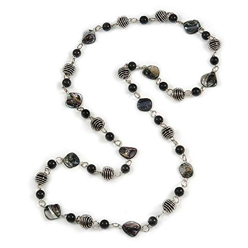 Avalaya Long Glass and Shell Bead with Silver Tone Metal Wire Element Necklace in Black - 120cm L