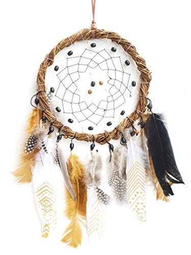 Artsicraft Large Handmade Dreamcatcher with Yellow Feathers Dream Catcher Feather Hanging Decoration Ornament Indian Chimes Traditional Dreamcatcher Car Hanging, 20' Length (Yellow)