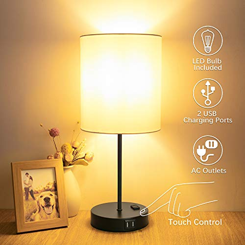 Table Lamp Touch Control, 3 Way Dimmable Bedside Lamp, 2 Fast USB Charging Ports Touch Lamp Desk Lamp, AC Outlet Modern Nightstand Lamp for Bedroom Living Room Office(LED Bulb Included)