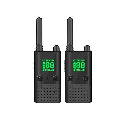 Z-COLOR 2 piezas de walkie talkie walkie talkie de largo alcance 10KM Potente walkie talkie con LED de visualización 99 del canal de memoria con luz intermitente de alarma y la función de radio ((Negr
