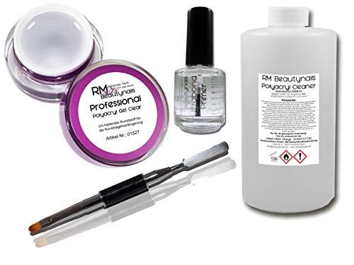 Polyacryl Kit de démarrage pour ongles LED UV 5 ml Gel acrylique transparent – Primer 12 ml – Nettoyant spécial polyacrylique 100 ml – Pinceau avec spatule
