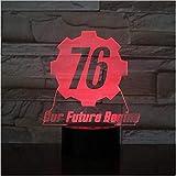 ELLCDRJ Fallout 76 Nuestro futuro comienza USB 3D LED Luz nocturna Niños Niño Niños Regalos para bebés Luces decorativas Juego Lámpara de mesa