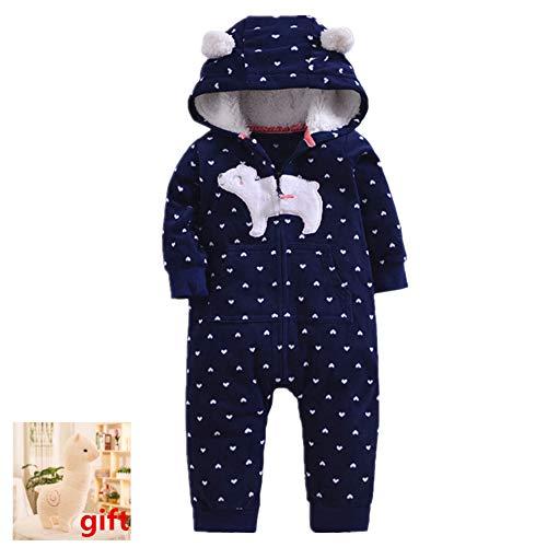 Morbuy Kombinezony dziecięce, noworodek unisex niemowlę zimowy kombinezon z kapturem z czapką bawełniana podszewka paski kropki body