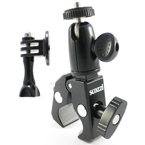 scozzi Fahrradhalterung Kamera Action Cam Fahrrad Motorrad Halterung Halter Lenker Lenkerhalterung Kamerahalterung Klemme z.B. kompatibel mit GoPro Hero 2 3 4 5 6 7 Fusion 2018 2019/Rollei/Apeman