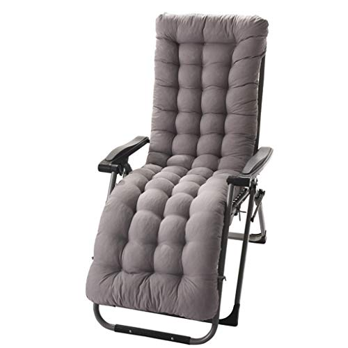 Cojines para cojines sillas, reclinable Tumbona el sol Estera para el asiento Relajante Silla mimbre Ventana saliente Silla Asiento Jardín Patio Antideslizante Cálido Asiento cómodo,Grey-125*48*8cm