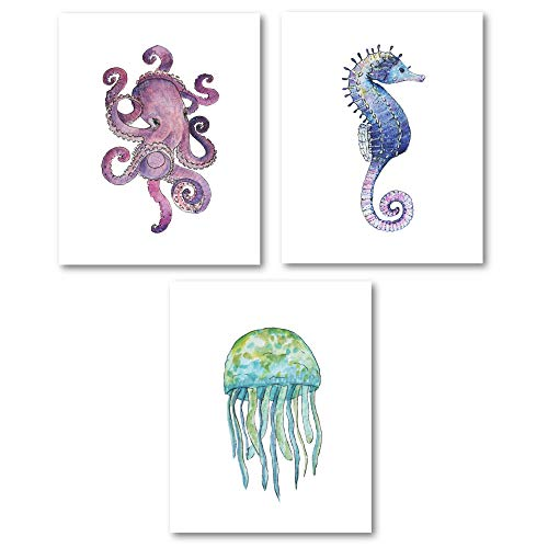 Thankful Greetings Sea Life Wall Decor Art Prints – Ocean Life Watercolor Prints with Seahorse, Jellyfish, Octopus - (Set of 3) - Unframed - 8x10s or 5x7s – Home and Bathroom Decor (5x7)