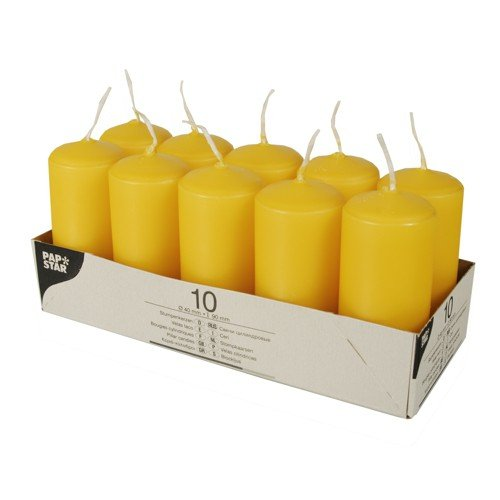 Papstar 17917, pillar candles, Ødiameter 40 mm, height 90 mm, paraffin, golden yellow, burning time: approx. 9 hours