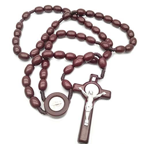 XIANZI Rosario de cuentas de madera de Jesús, 8 mm, con colgante de cruz, cadena de cuerda tejida, accesorio de joyería