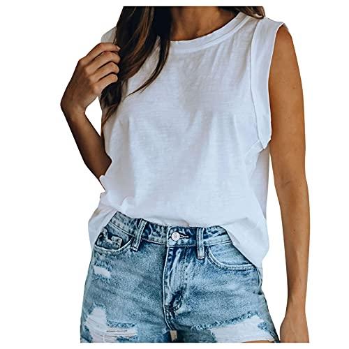HainJS - Camiseta de tirantes para mujer, sin mangas, básica, túnica suelta Blanco L - XL