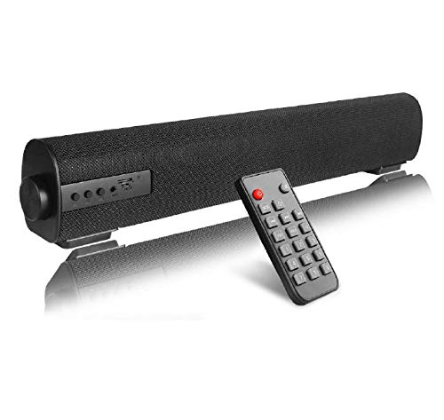 Portable Soundbar for TV/PC, SPORTPARK Soundbar with Built-in Subwoofer Surround Sound 2.0 Channel Portable Bluetooth Computer Speaker Wired & Wireless Audio Stereo Sound Bars