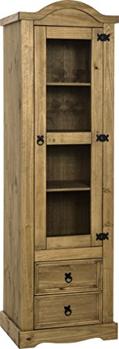 Seconique Corona 1 Door 2 Drawer Display Unit, Distressed Waxed Pine/Clear Glass, 534.95x1829.95x109.95 cm