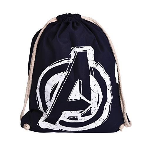 Elbenwald Marvel Sportbag Avengers Logo Frontprint mit Kordelzug 46 x 36 cm Baumwolle blau