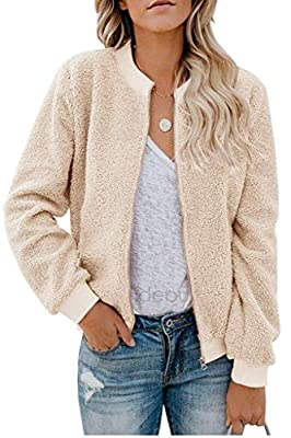 ReachMe Womens Zip Up Sherpa Bomber Jacket with Pockets Casual Short Coat Outwear(Beige,S) from ReachMe