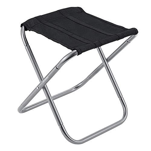 XUFAN Silla de Pesca Plegable Picnic Ligero Camping Camping Silla Plegable Aluminio al Aire Libre fácil de Llevar sillas Plegables (Color : Black)