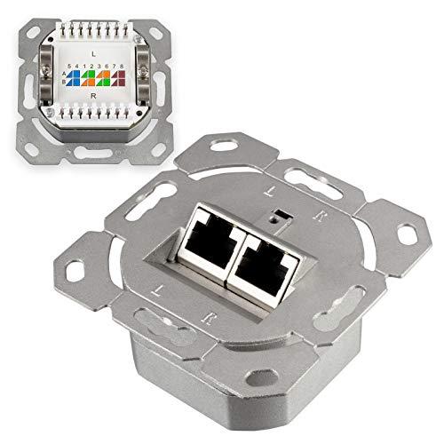 HB-DIGITAL Enchufe de red Cat.6a con 2X puertos RJ45 empotrados SIN CARCASA Enchufe de red transmisión de datos enchufe universal CAT.5 CAT.6 CAT.6a EIA/TIA 568A&B 8P8C Gigabit Ethernet