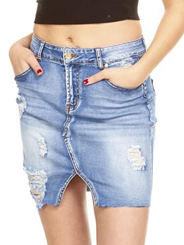 Smart Jeans High Waisted Super Comfy Stretch Denim Skirt Medium Wash Blue...