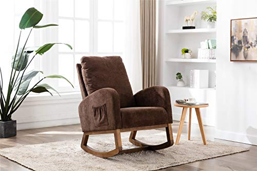 ZEIGER Rocking Chair, Mid Century Glider Rocker Chair with Solid Leg Side Pocket Thick Padded Cushion, High Back Cozy Armrest Chair Ideal for Home Studios and Small Offices - Coffee